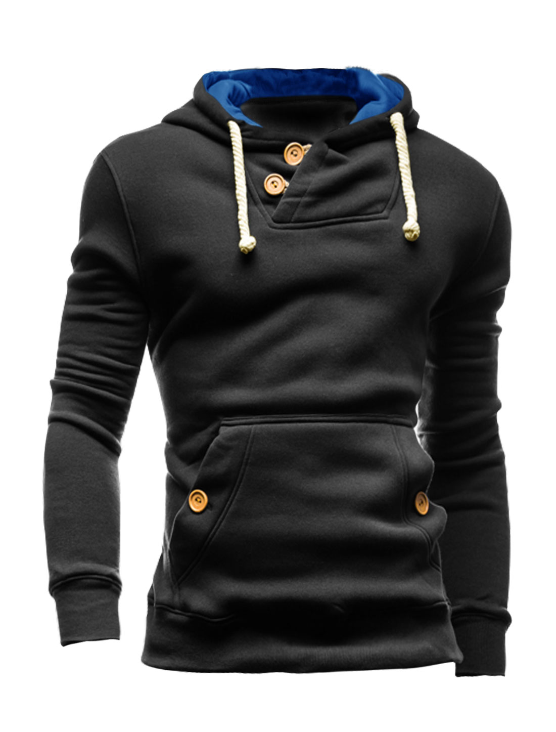 Men Button Loop Closure Kangaroo Pocket Slim Fit Hooded Sweatshirt Black M