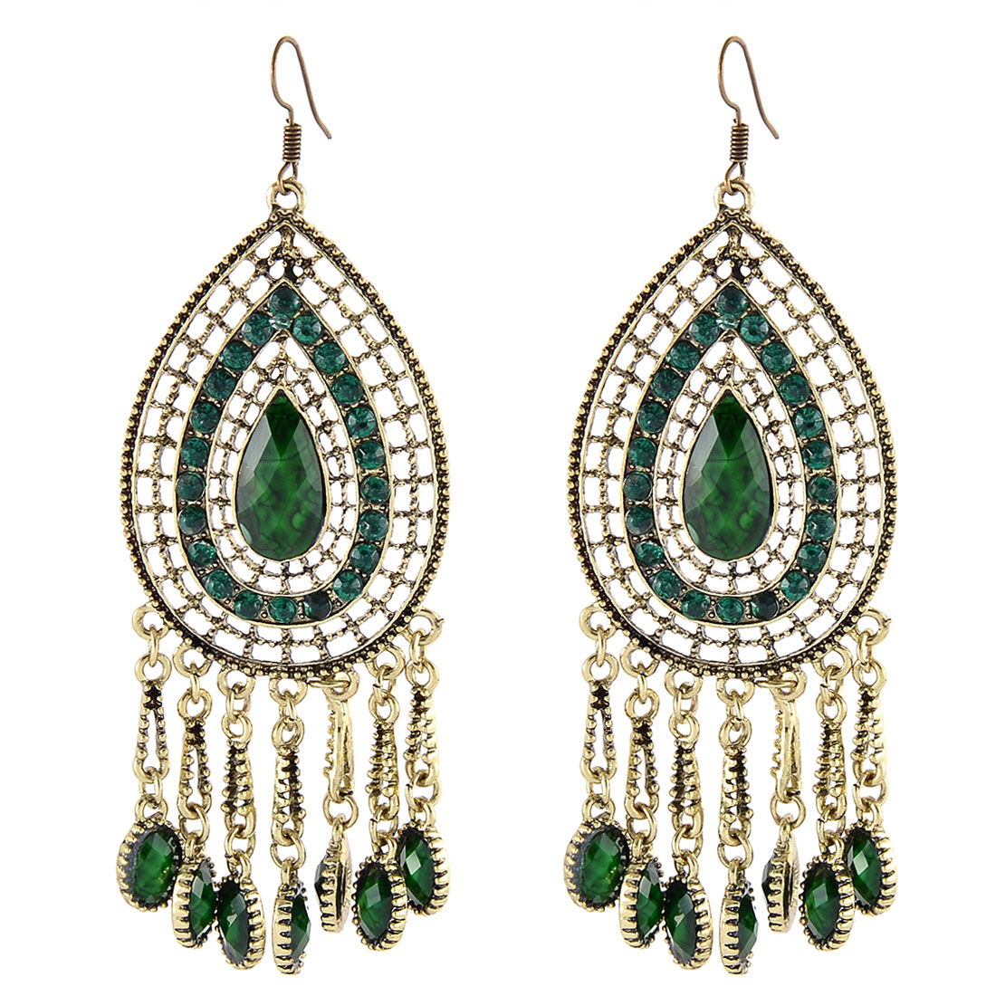 Lady Alloy Vintage Waterdrop Shaped Rhinestone Mosaic Tassels Hook Earring Green