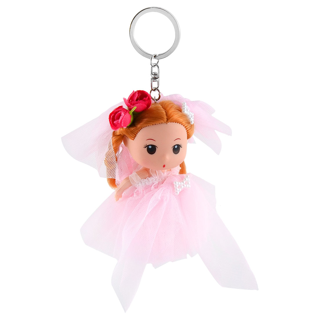 Women Handbag Veil Dress Girl Pendant Decor Hang Doll Keychain Key Ring Pink