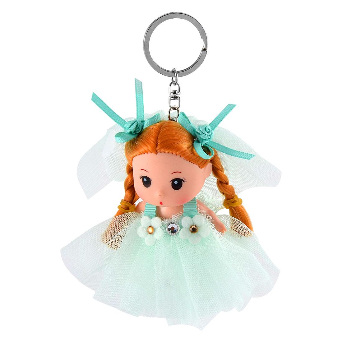 Women Trunk Wedding Dress Girl Pendant Design Hang Doll Keychain Key Ring Green