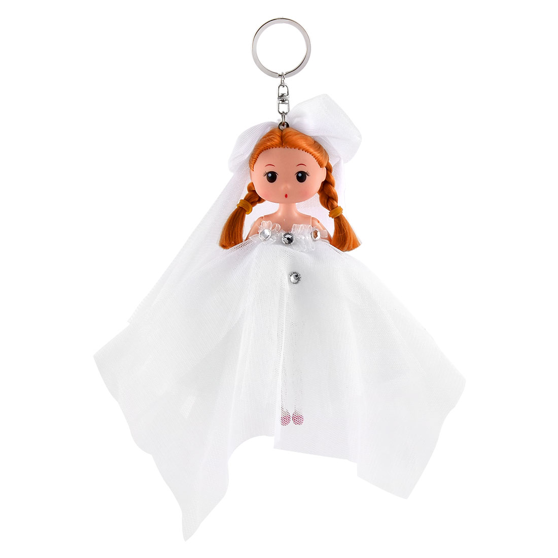 Girl Trunk Wedding Dress Toy Ornament Pendant Strap Doll Keychain Key Ring White