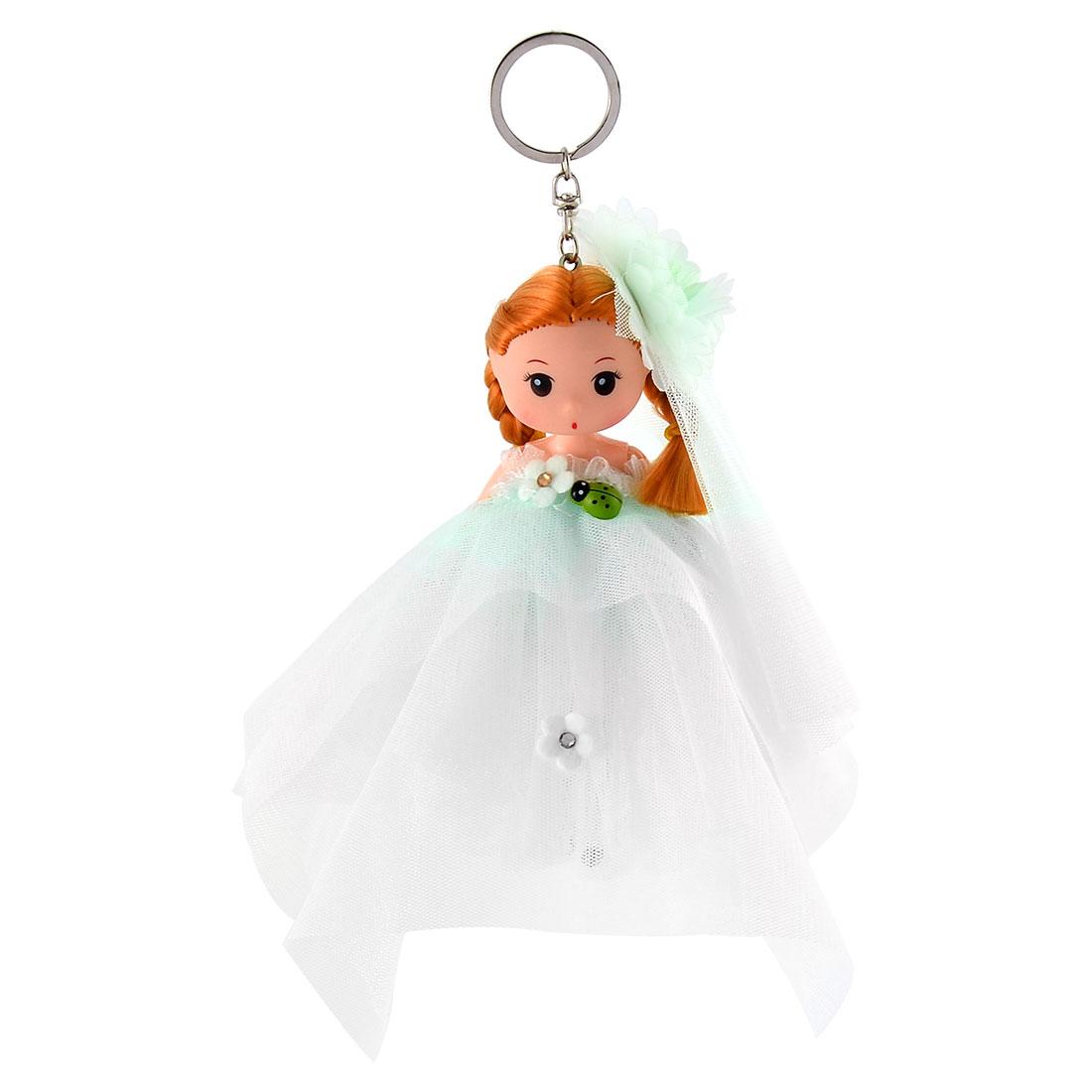 Lady Handbag Innocent Girl Ornament Strap Pendant Doll Keychain Key Ring Green