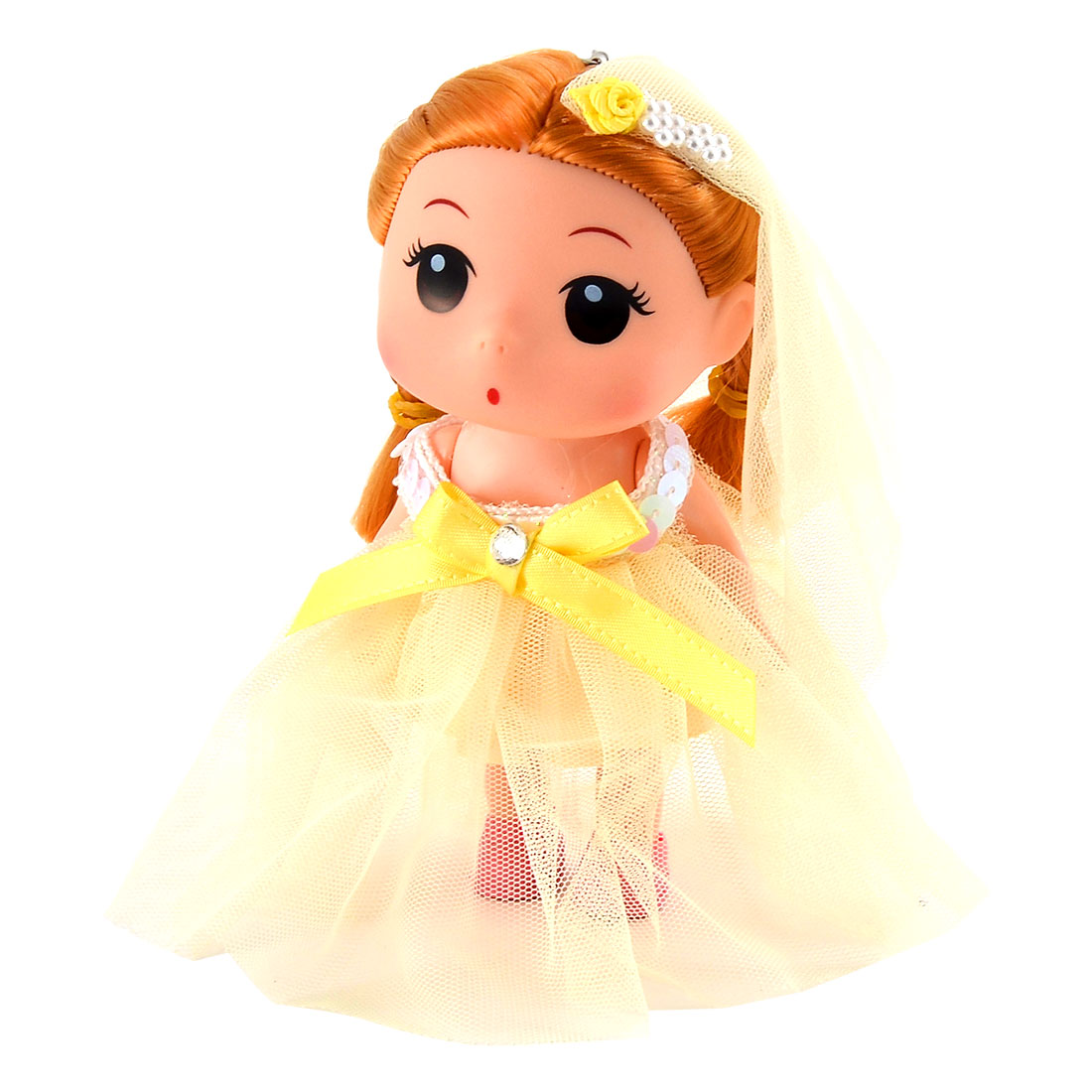 Girl Trunk Veil Dress Toy Decoration Strap Pendant Doll Keychain Key Ring Yellow