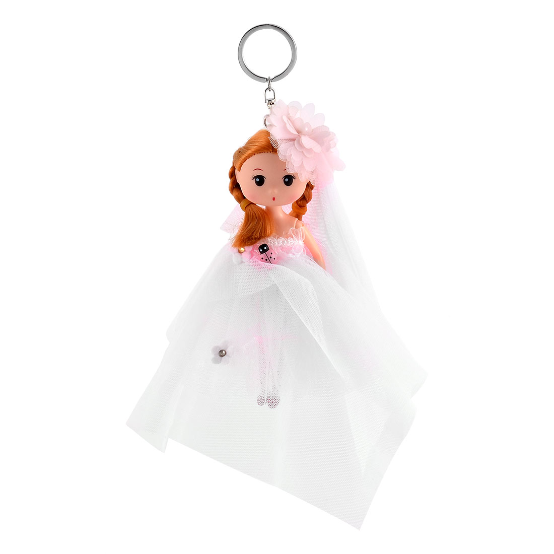 Girl Bag Veil Dress Toy Decoration Pendant Strap Doll Keychain Key Ring Pink