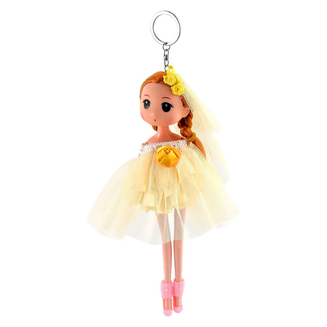 Girl Bag Wedding Dress Toy Ornament Charm Strap Doll Keychain Key Ring Yellow