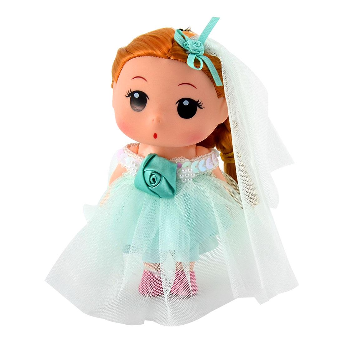 Women Handbag Innocent Girl Adornment Pendant Charm Doll Keychain Key Ring Green