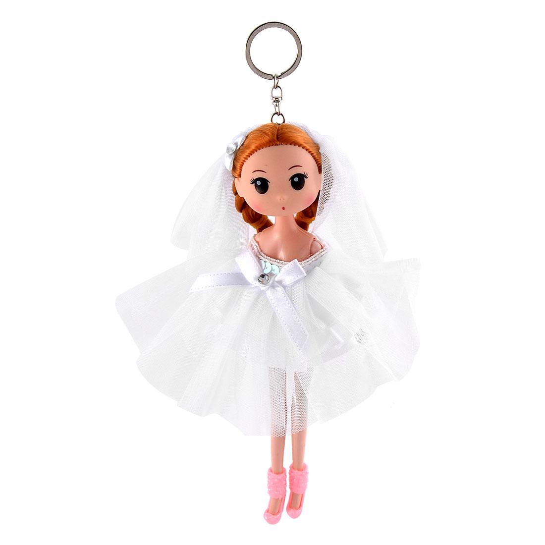 Women Handbag Innocent Girl Ornament Pendant Charm Doll Keychain Key Ring White