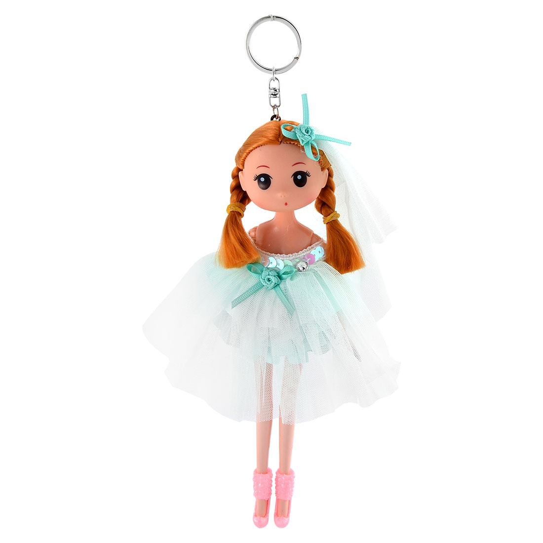 Girl Trunk Veil Dress Toy Design Pendant Hanging Doll Keychain Key Ring Green