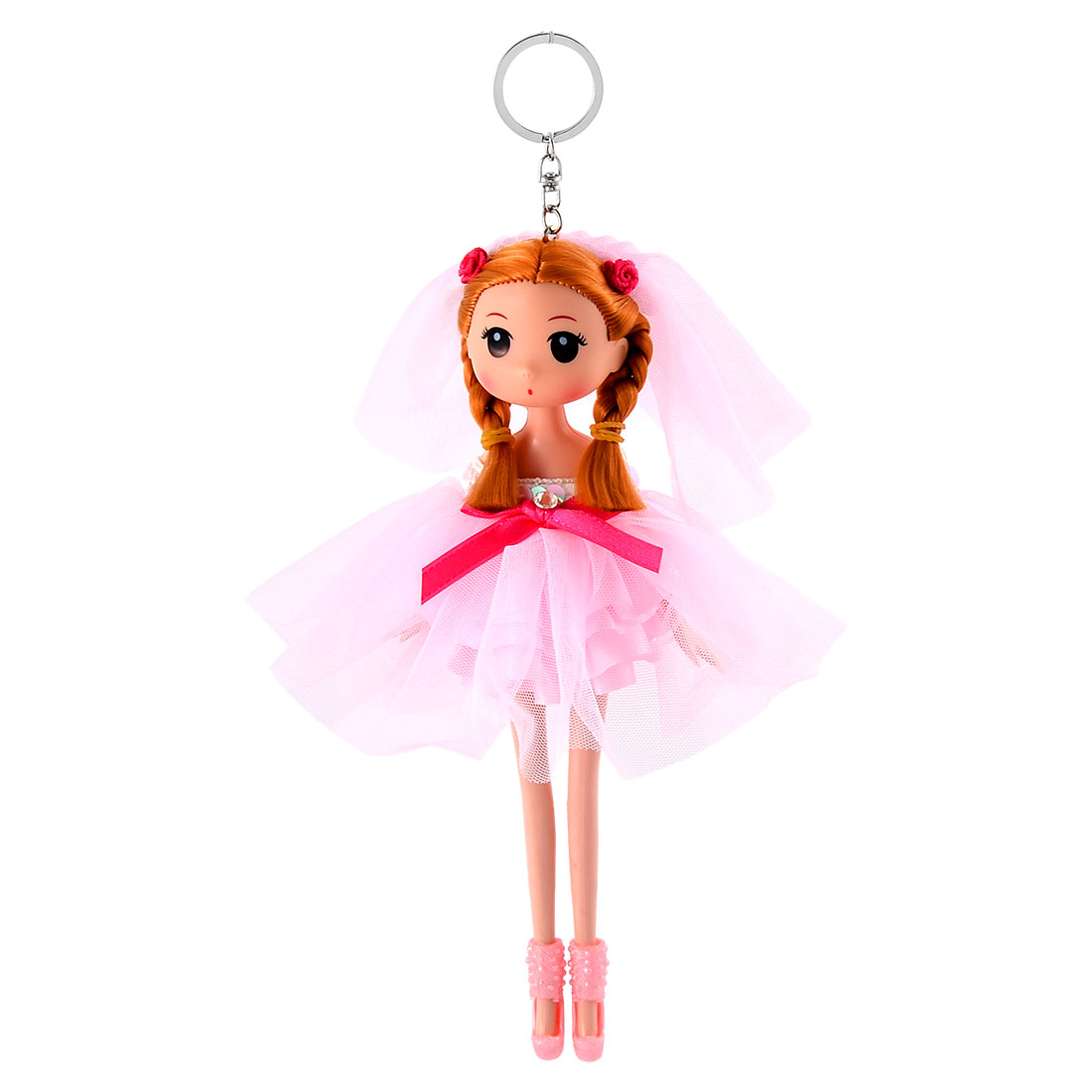 Girl Thrunk Wedding Dress Toy Decor Pendant Hanging Doll Keychain Key Ring Pink