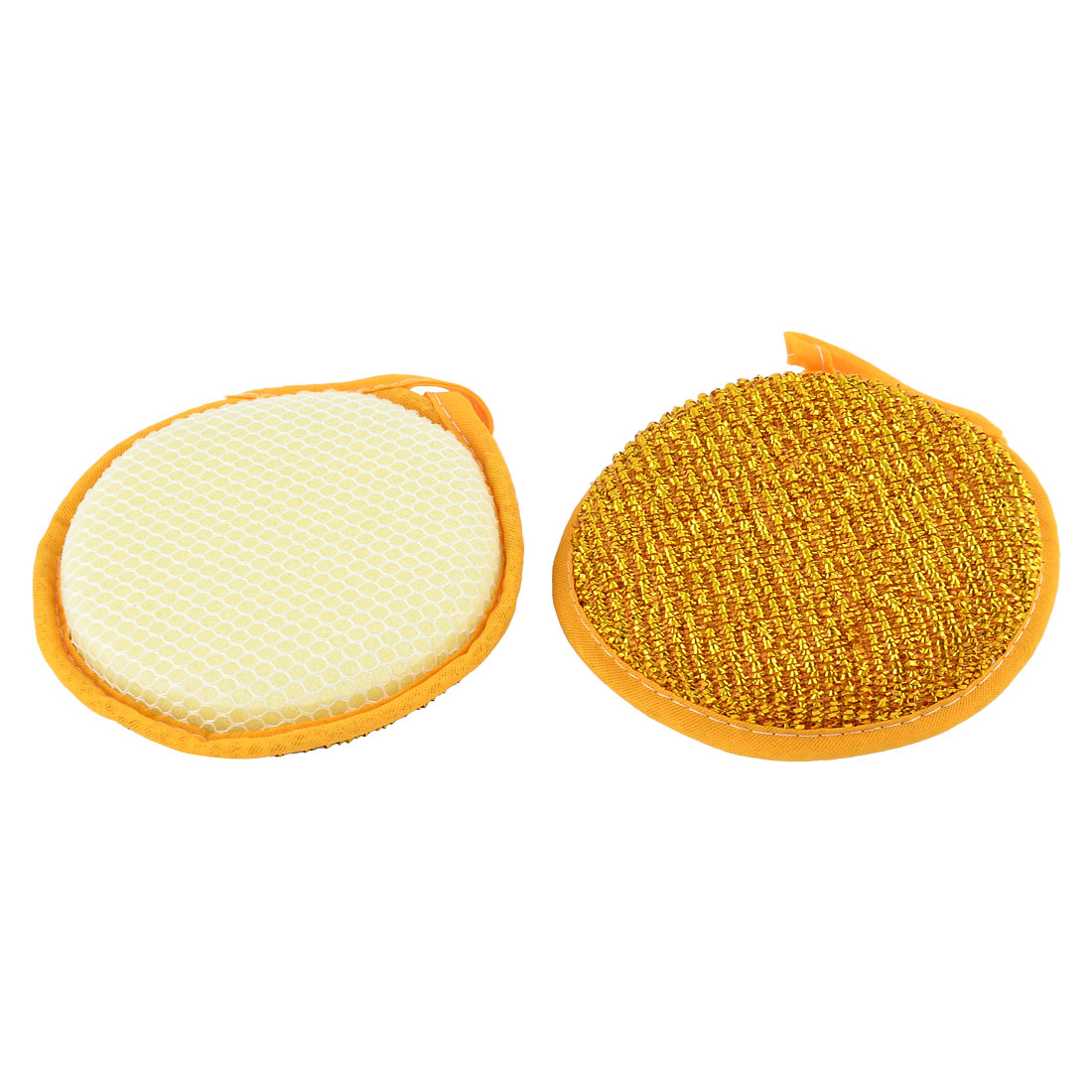 Kitchen Round Shape Block Cleaning Tool Scrubing Bowl Pot Cup Dish Pad Cleaner Yellow 2PCS