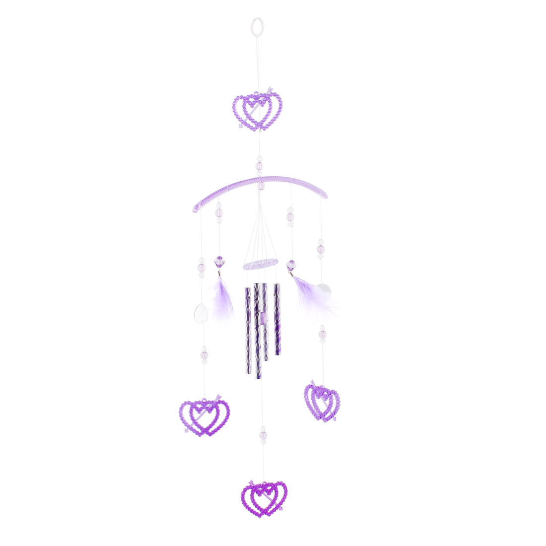 Home Corridor Aluminum Tube Double Heart Shape Pendant Mini Wind Chime
