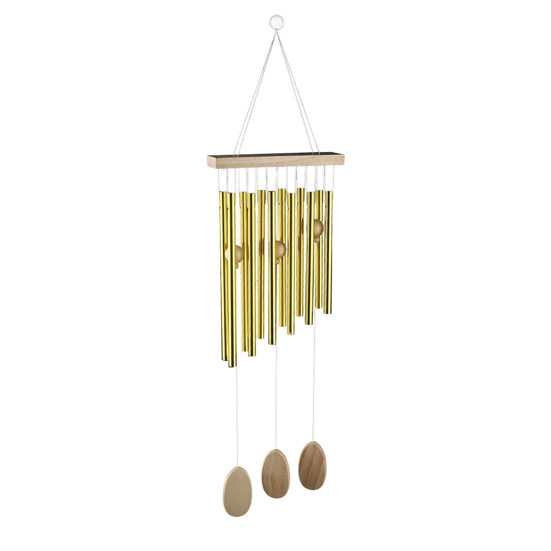 Living Room Metal Tubes Hanging Decor Gift Wind Chime Bell Windbell Gold Tone