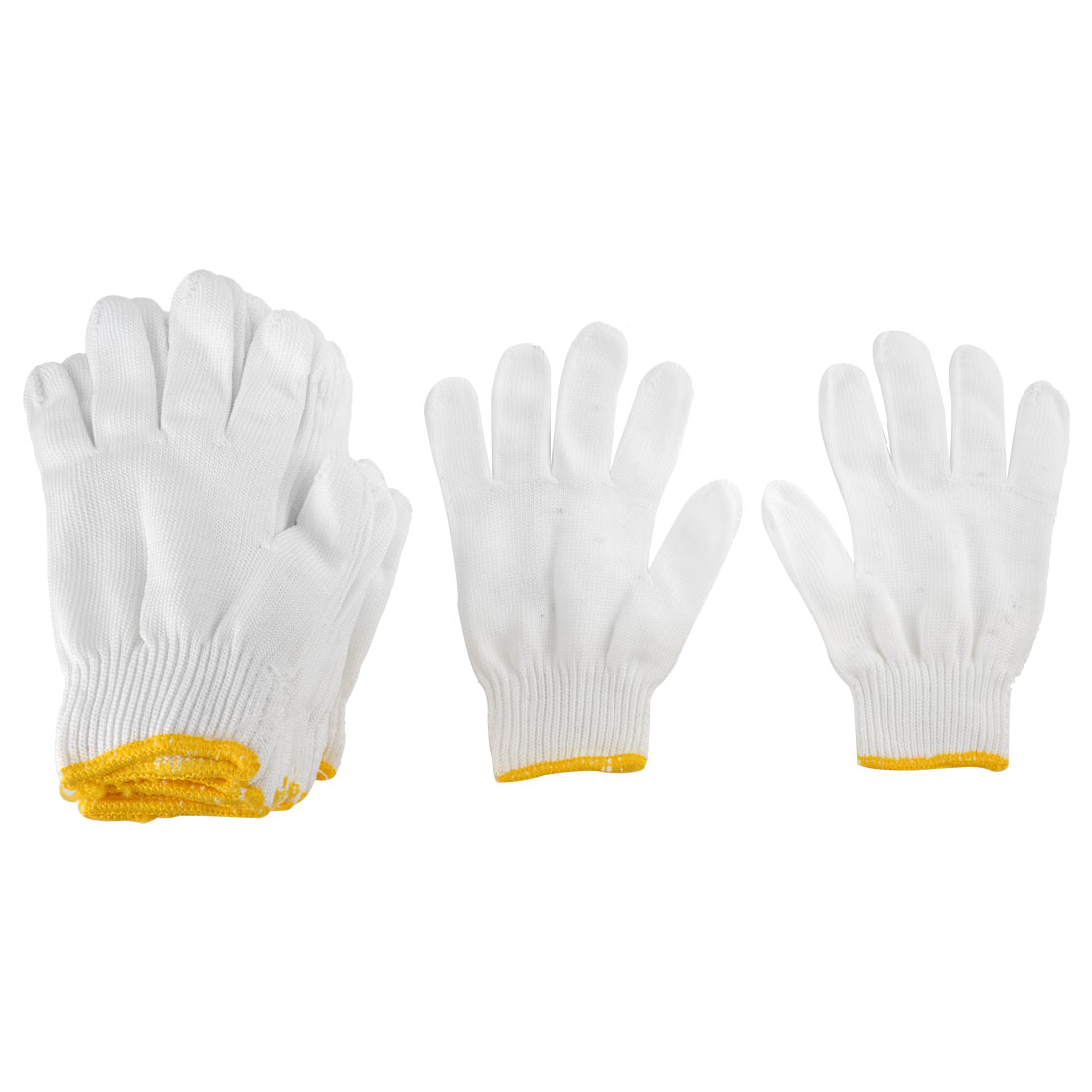 12 Pairs Knitted Cotton Factory Industry Work Protective Gloves White Yellow
