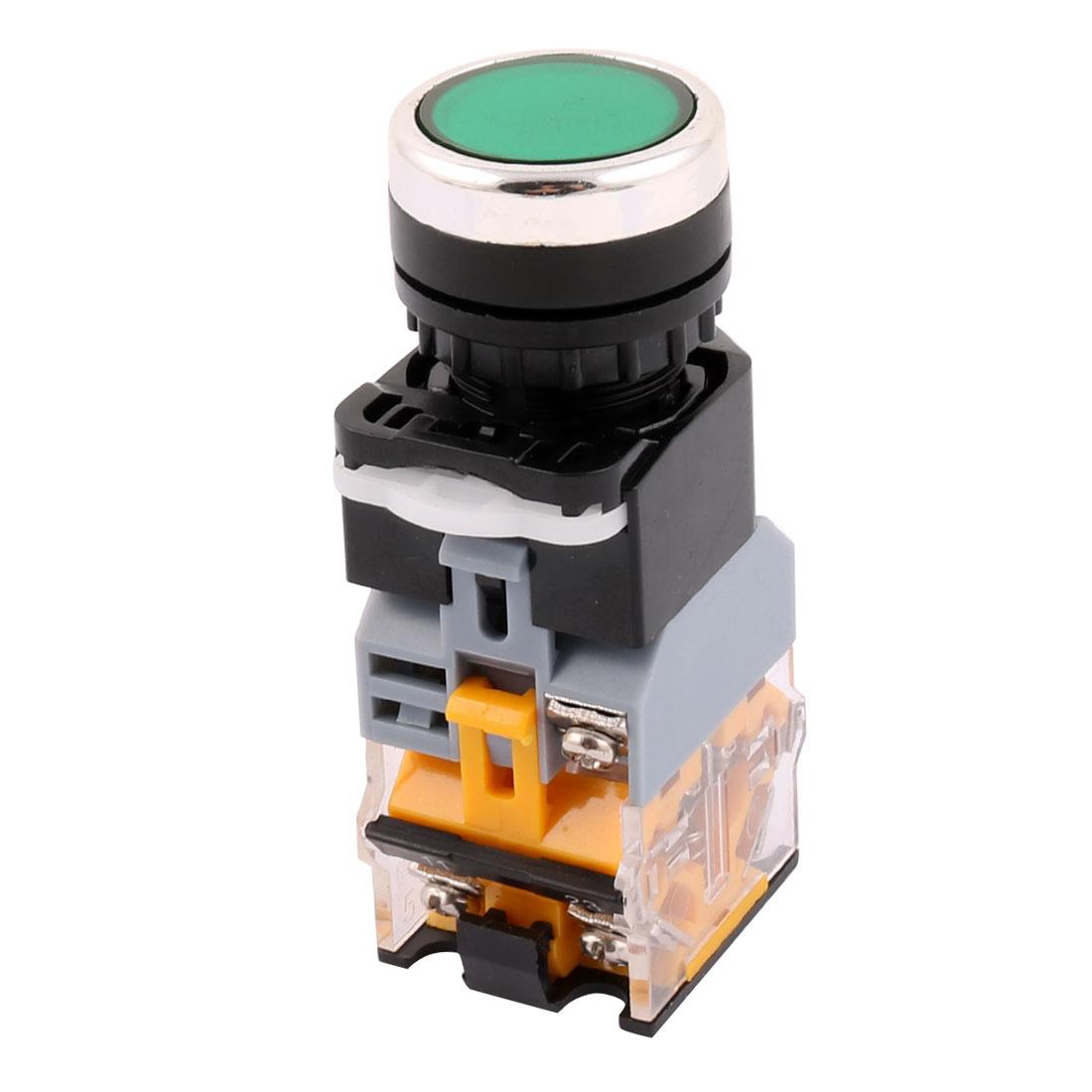 DC 24V Push Button Switch AC 380V 10A 1 NO + 1 NC Switch w Light