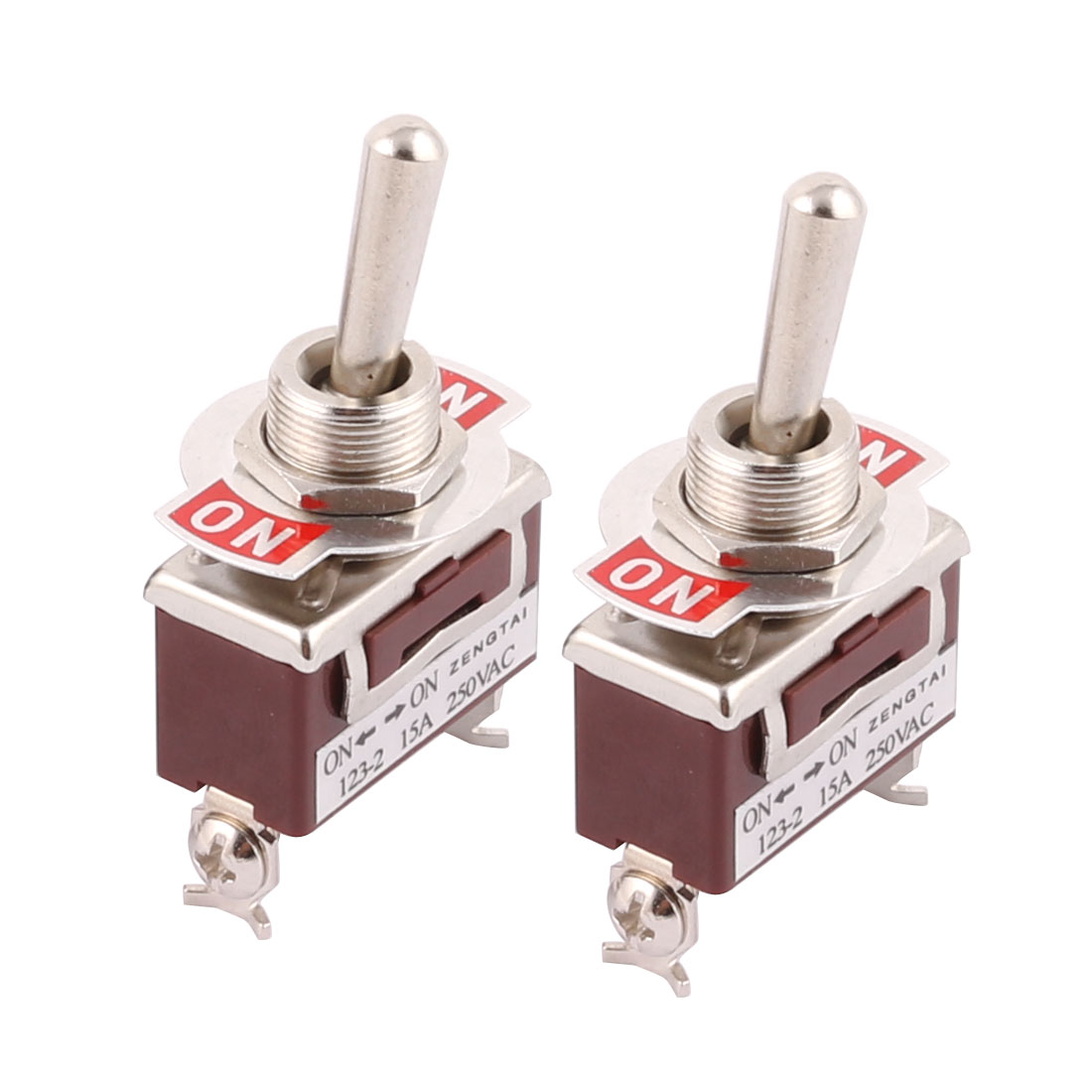 2 Pcs AC 250V 15A ON/ON 2 Position SPDT Momentary Toggle Switch Brown