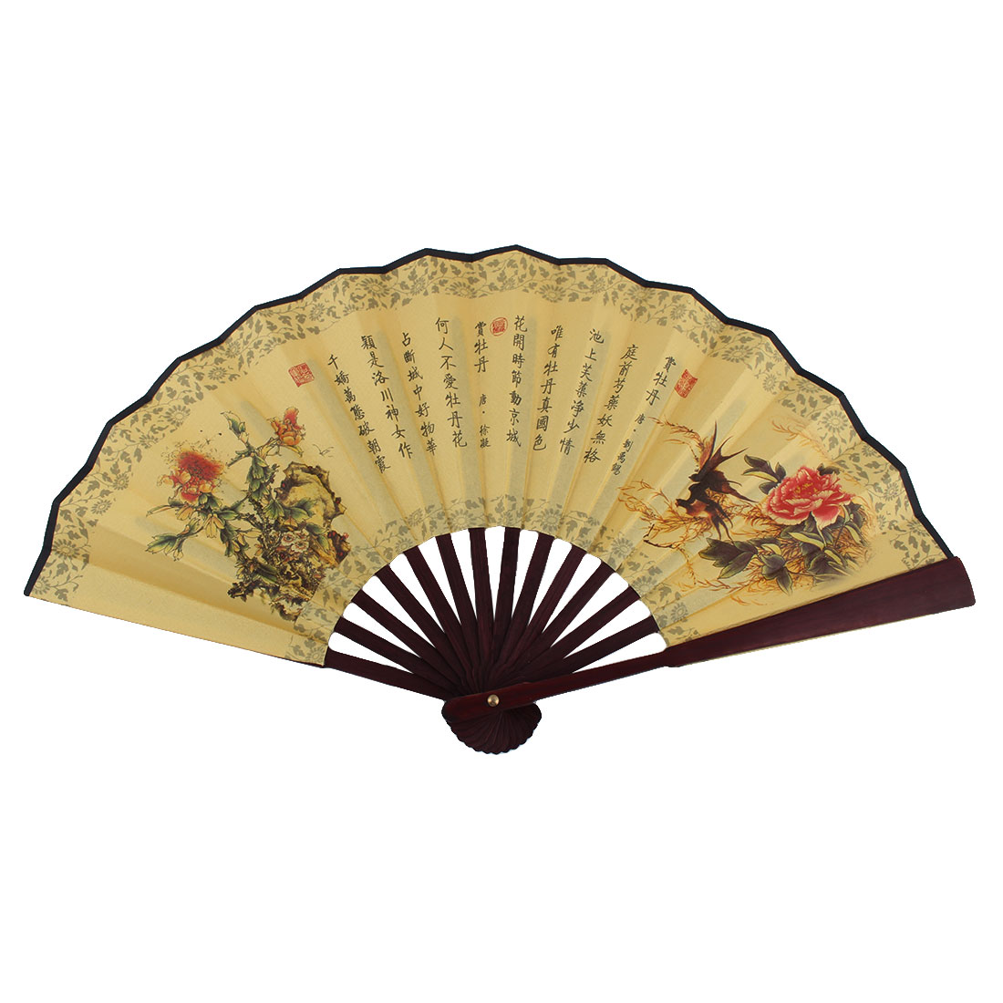 Unisex Wooden Handle Peony Pattern Chinese Ancient Poems Folding Fan Tricolor