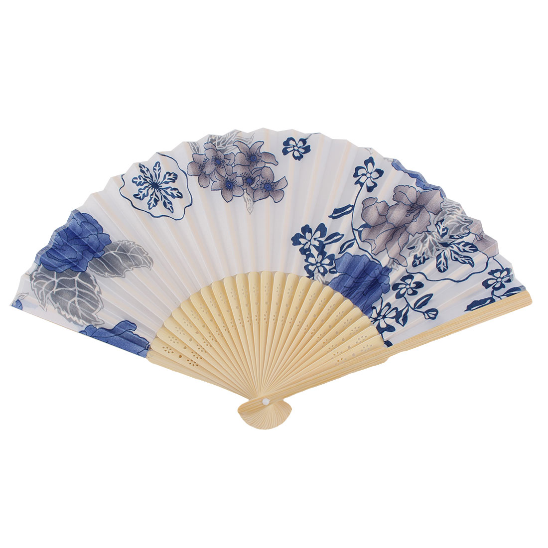 Lady Wooden Ribs Flower Pattern Chinese Style Folding Handheld Fan White Blue