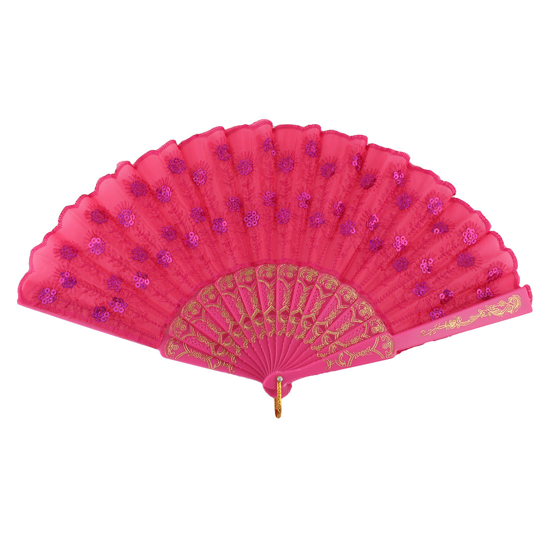 Lady Plastic Handle Embroidered Sequin Flower Dancing Folding Fan Fuchsia Purple