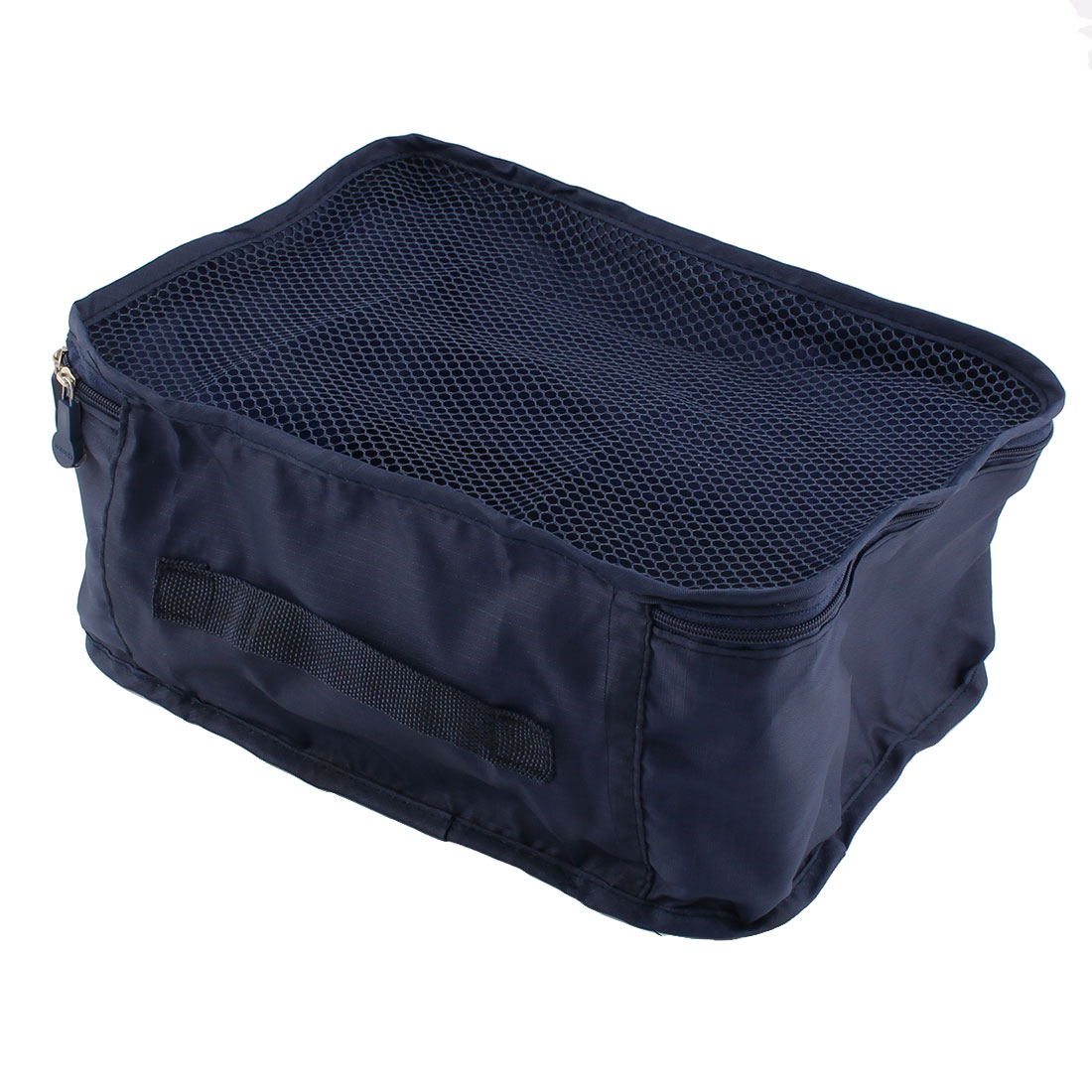 Travel Admission Foldable Zipper Closure Package Pouch Mesh Bag Indigo Navy