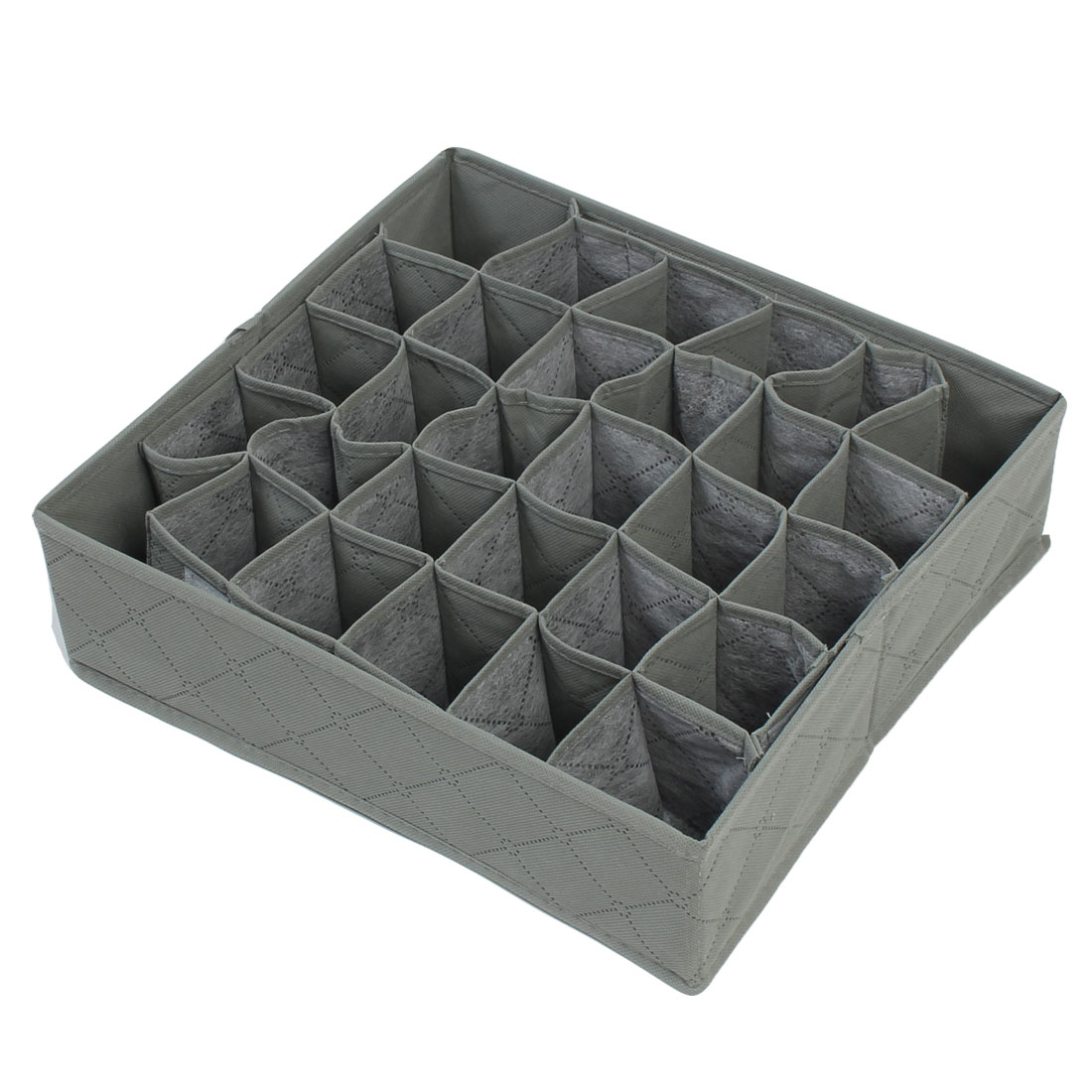 Bamboo Fiber Folding 30 Compartment Removable Tie Necktie Socks Organizer Storage Box