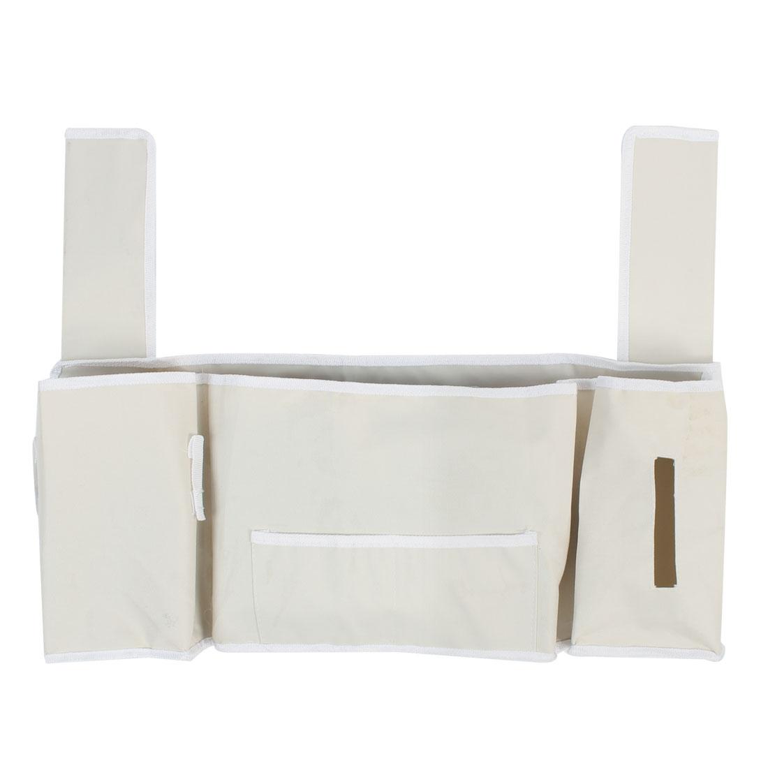 Home Bedroom 5 Pocket Bedside Storage Bag Magazine Tissue Box Holder Container