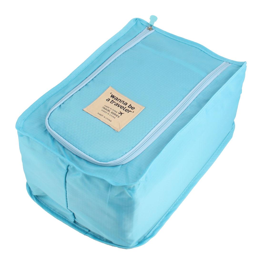 Travel Trip Foldable Zipper Closure Shoes Sneaker Slipper Packing Organizer Storage Bag Case Sky Blue