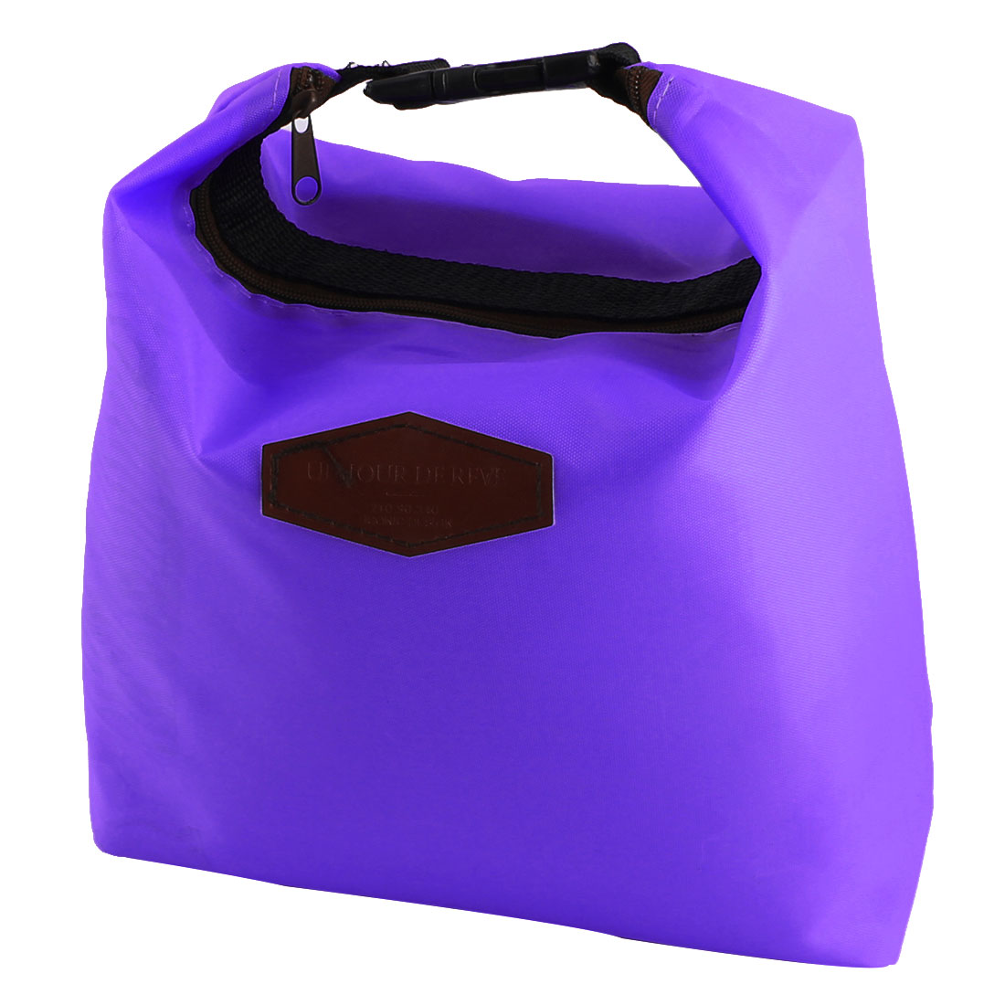 Office Worker Student Portable Buckle Strap Thermal Cooler Insulated Lunch Bag Pouch Purple