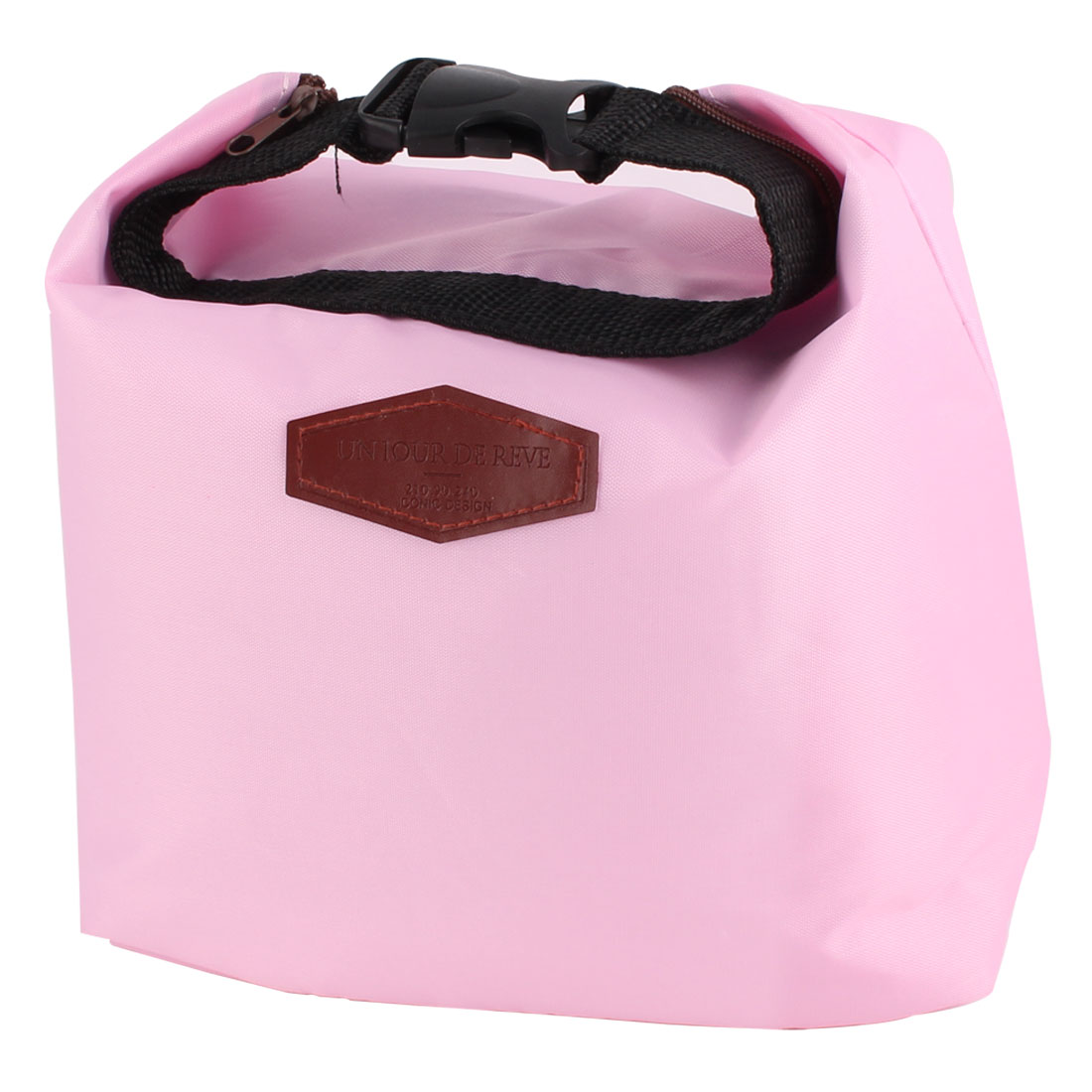 Office Worker Student Portable Buckle Strap Thermal Cooler Insulated Lunch Bag Pouch Pink