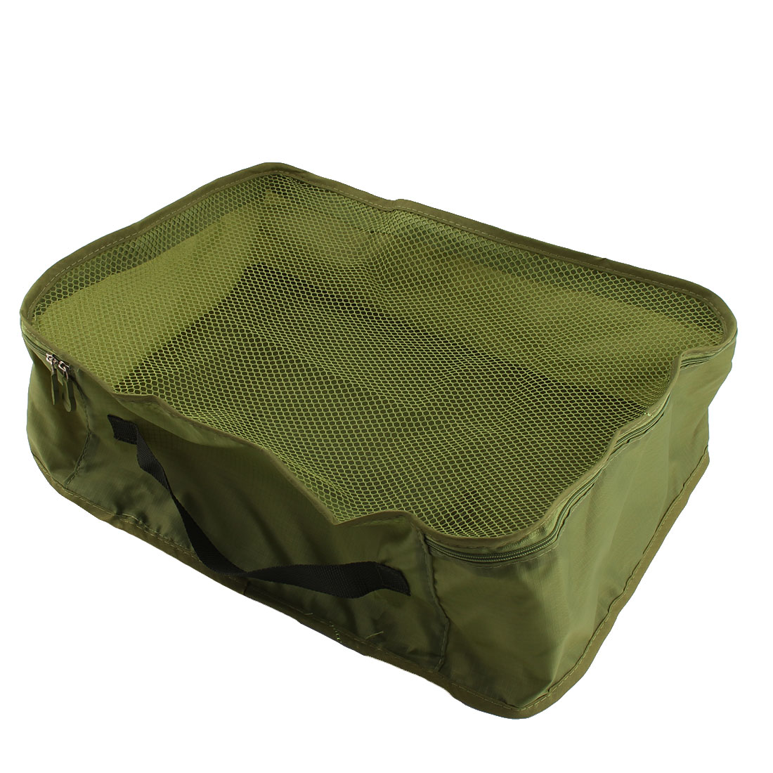 Travelling Zipper Closure Folding Mesh Packing Cube Package Pouch Bag Frost Green