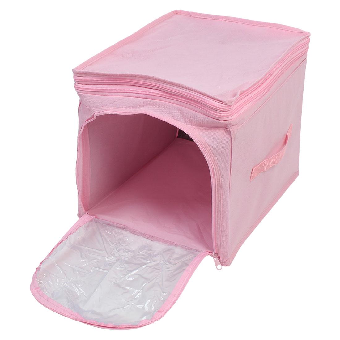 Home Wardrobe Adjustable Foldable Visual Clothing Storage Box Finishing Bag Pink