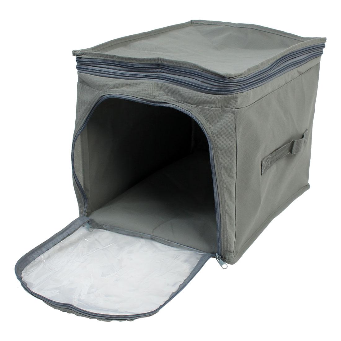 Home Wardrobe Adjustable Foldable Visual Clothing Storage Box Finishing Bag Gray