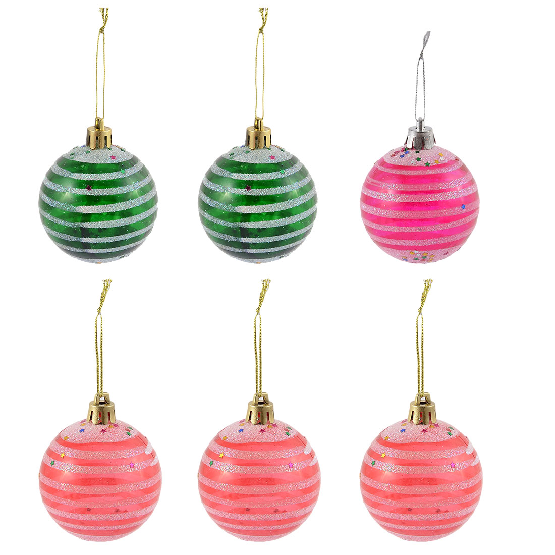 Holiday Christmas Party Plastic Pendant Decoration Tree Balls 58mm Dia 6pcs
