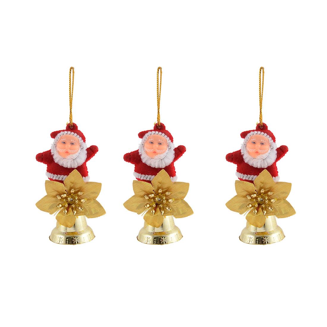 Christmas Party Plastic Santa Claus Shaped Pendant Tree Decoration Adornment 3pcs