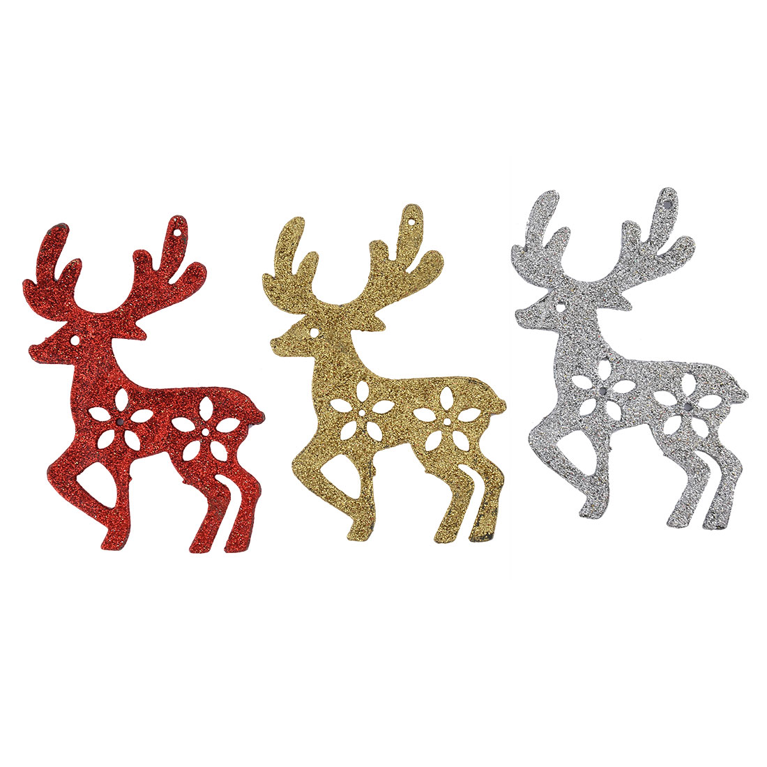Christmas Party Plastic Deer Shaped Hanging Tree Decoration Adornment 3pcs