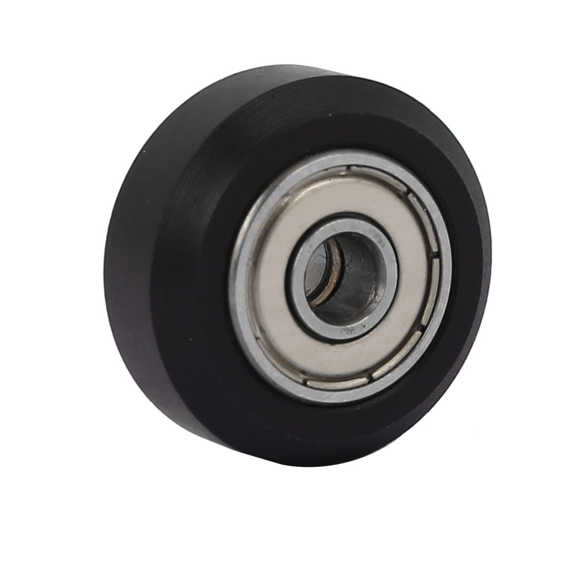 24mm x 5mm x 11mm Plastic Coated Pulley Tire Roller Wheel Arc Ball Bearing Black