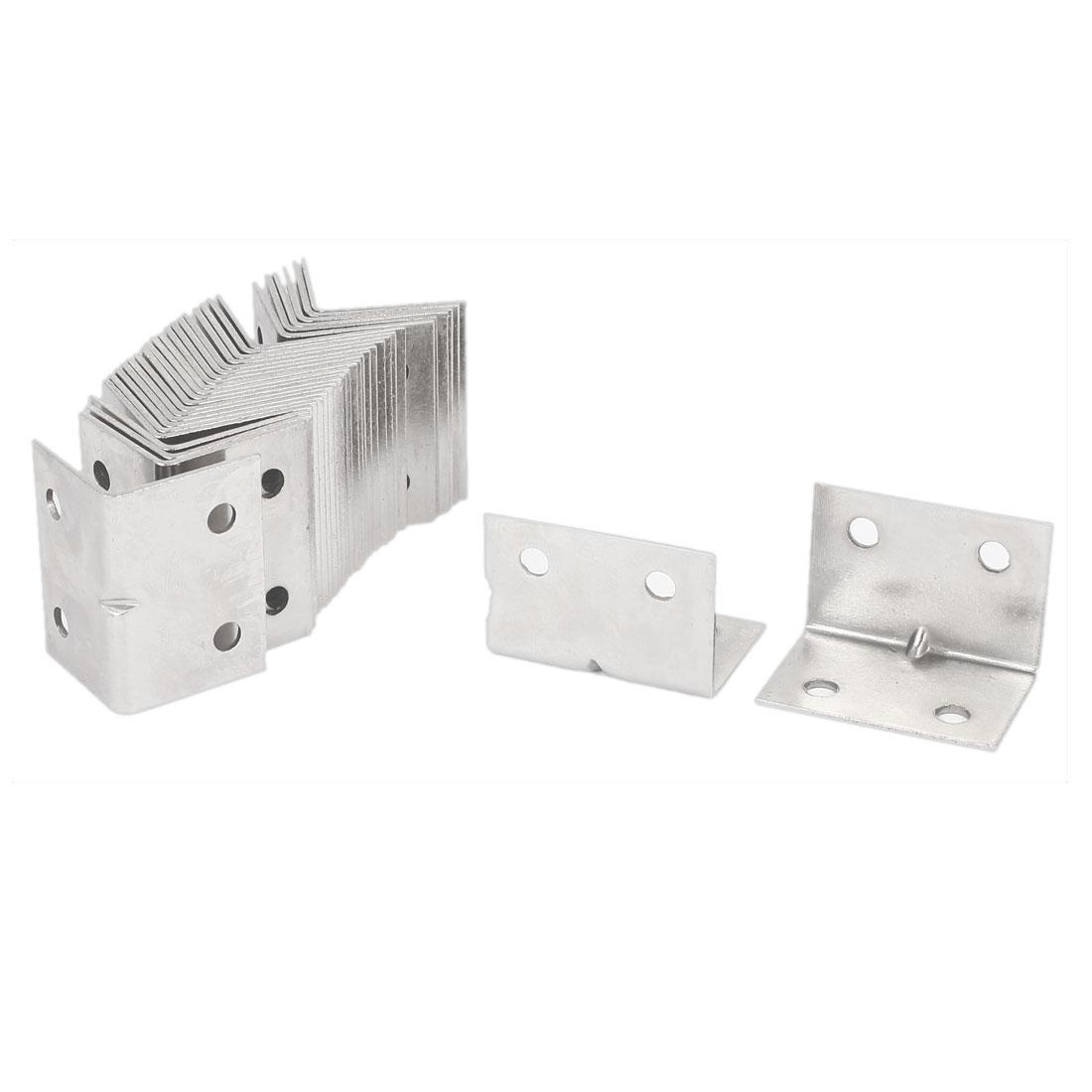 L Shaped 4 Holes Metal Corner Brace Angle Bracket 37mmx26mmx26mm 30pcs
