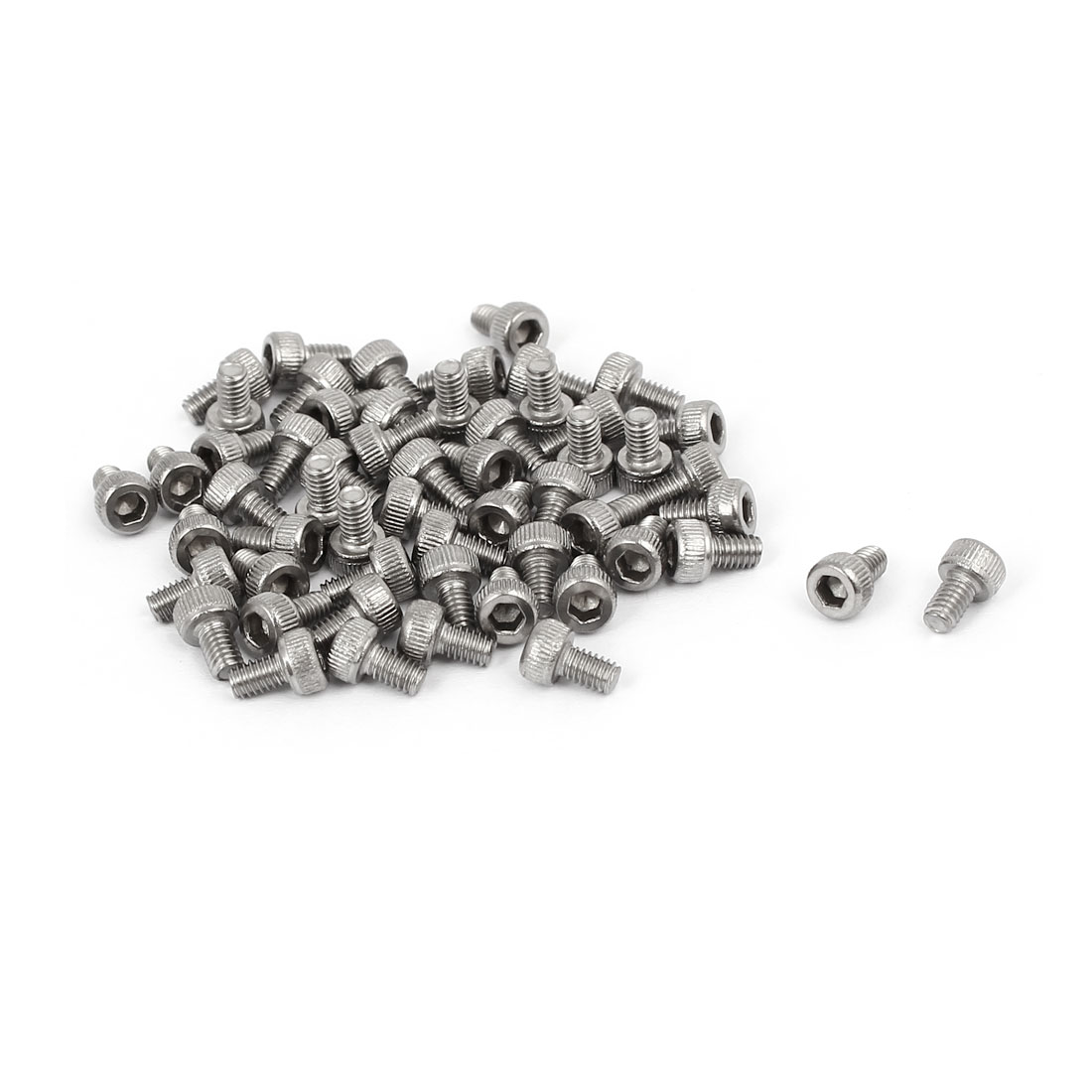 M2.5 x 4mm Thread 304 Stainless Steel Hex Socket Head Cap Screw DIN912 55pcs