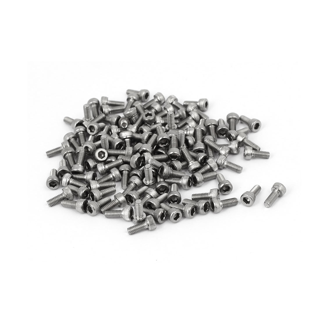 M2.5 x 6mm Thread 304 Stainless Steel Hex Socket Head Cap Screw DIN912 120pcs