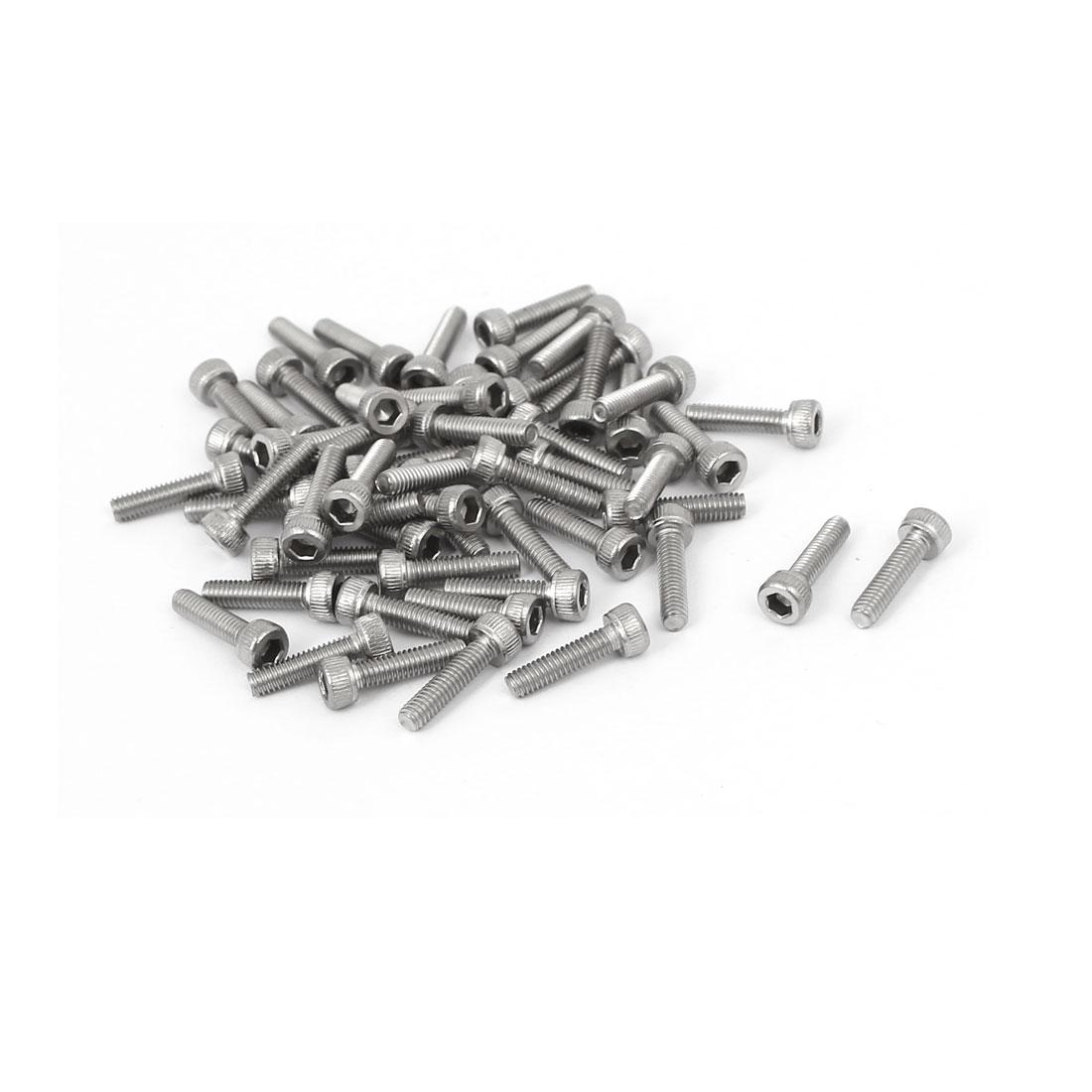 M2.5 x 10mm Thread 304 Stainless Steel Hex Socket Head Cap Screw DIN912 55pcs