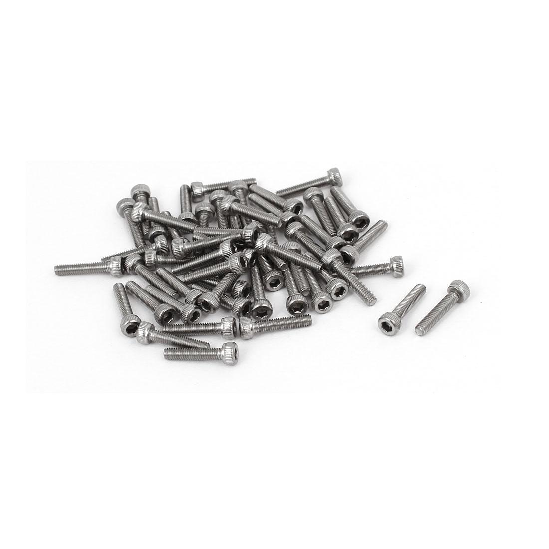 M2.5 x 12mm Thread 304 Stainless Steel Hex Socket Head Cap Screw DIN912 55pcs
