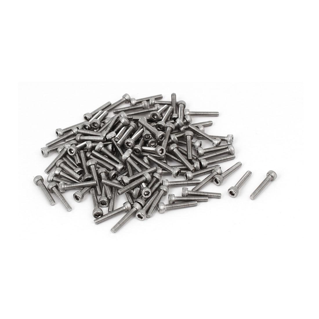 M2.5 x 14mm Thread 304 Stainless Steel Hex Socket Head Cap Screw DIN912 120pcs