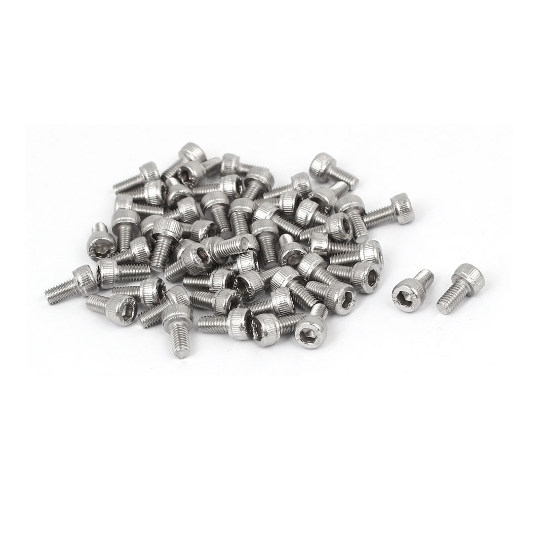 M3x6mm Thread 304 Stainless Steel Hex Socket Head Cap Screw Bolt DIN912 55pcs