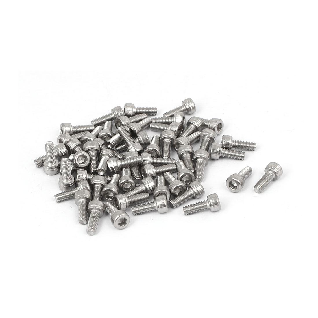 M3x8mm Thread 304 Stainless Steel Hex Socket Head Cap Screw Bolt DIN912 55pcs