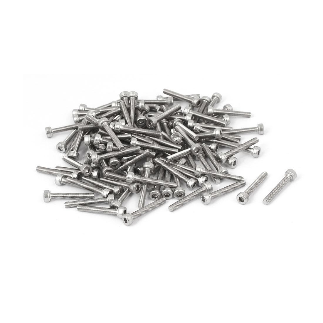 M3x20mm Thread 304 Stainless Steel Hex Socket Head Cap Screw Bolt DIN912 120pcs