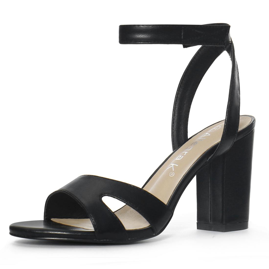 Women Open Toe Block High Heels Ankle Strap Sandals Black US 7.5