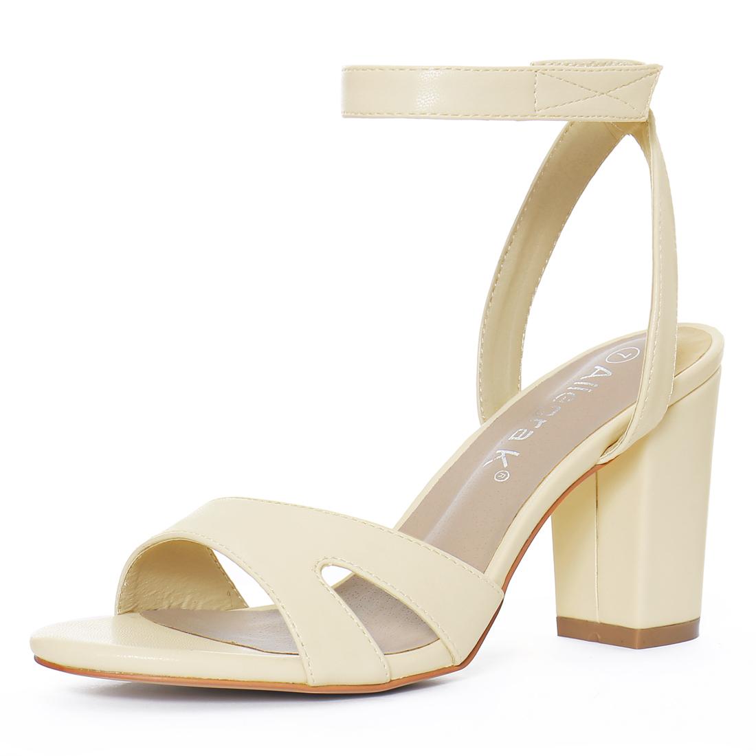 Women Open Toe Block High Heels Ankle Strap Sandals Off White US 7.5