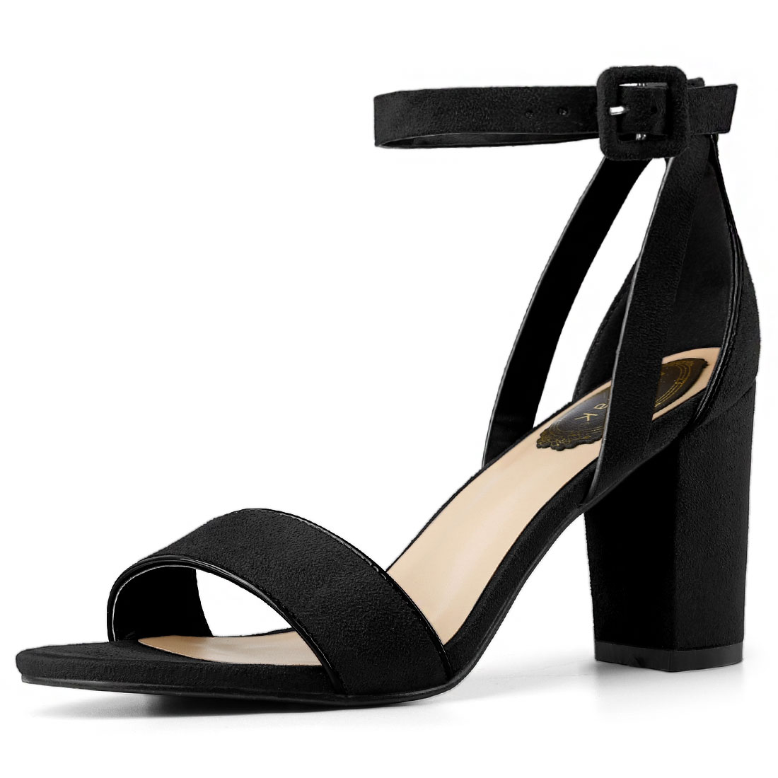 Women PU Panel Piped Chunky Heel Ankle Strap Sandals Black US 5.5