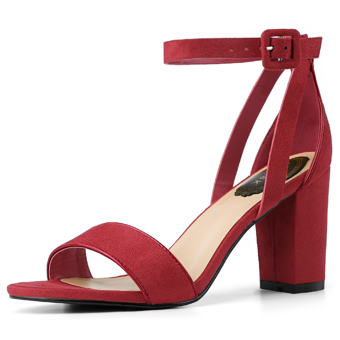 Women PU Panel Piped Chunky Heel Ankle Strap Sandals Deep Red US 7