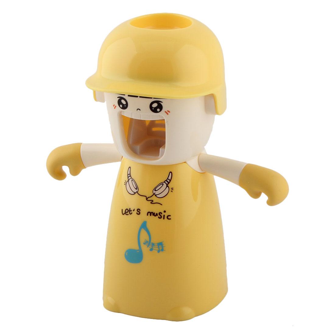 Bathroom Plastic Cartoon Girl Pattern Automatic Toothpaste Dispenser Squeezer Storage Cup Holder Rack Yellow Set 4 in 1