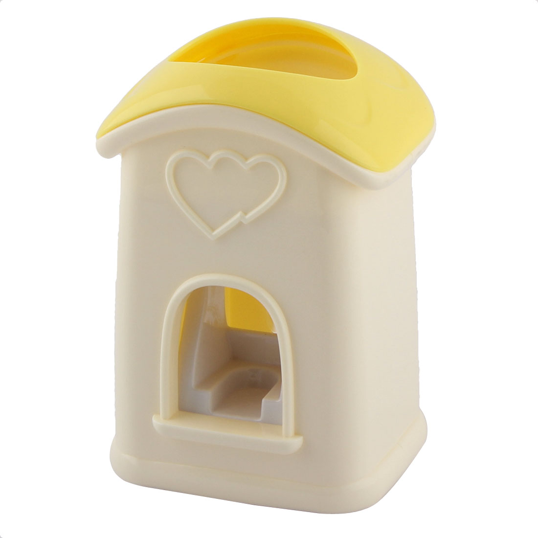 Household Cute House Shape Hands Free Automatic Toothpaste Dispenser Squeezer Holder Yellow